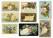 8 VICTORIAN GREETING Cards 1880's ROSES Forget Me Nots - Pansies etc NEW YEAR