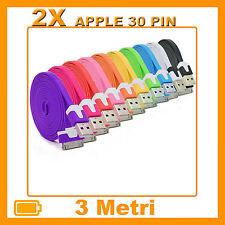 2X Cavi (Cavetto) Dati 3 Metri 30 PIN PIATTI PER APPLE NOODLE per Iphone 3/4/4S