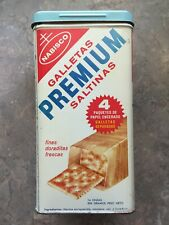 VINTAGE 1969 NABISCO PREMIUM SALTINE CRACKERS KITCHEN TIN CANISTER CAN - 3A