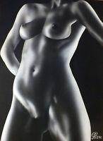 Dibujo de una niña desnuda # 150. Aerografía.