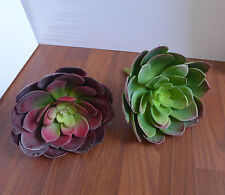 "Set of 2 Artificial Grass Succulent Plants Special Big Snow Lotus (Head 7"")"