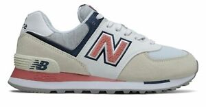 New Balance Women's 574 Shoes Off White with Red