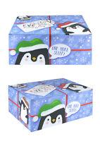 Large Christmas Eve Box - Penguins - Xmas Gift Present Elf Santa Tree Cute