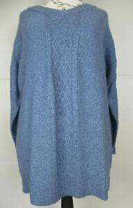 🌸Damen Pullover Pulli Strickpullover Strick Shirt 44/46 Blau Langarm Sheego
