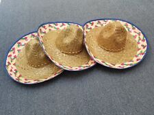 3 pc blue   Spanish Mexican Fiesta Festive Sombrero Hat Costume Cinco de Mayo