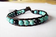 Turquoise Bracelets,Onyx bracelets,Leather bracelets,Men bracelets,Blue bracelet