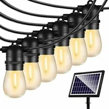 48ft Solar String Lights Outdoor Shatterproof Vintage Edison Bulbs 4 Light Mode