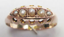 Antique Victorian 9ct Rose Gold Seed Pearl Boat Ring 1906 Size Q