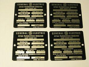 4 vintage GE General Electric CF34 Turbofan Aircraft Engine metal tags ID tag lo