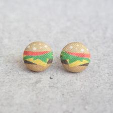 Burger Fabric Button Earrings