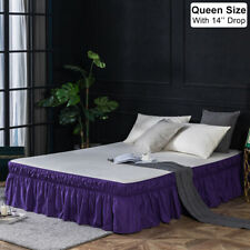 """14"""" Drop Bed Skirt Dust Ruffle Elastic Fit Wrap Around Bed Queen Size Purple Us"""
