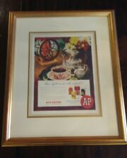 Rare Original Vintage Nicely Framed Eight O'clock Coffee AD A&P Food Stores