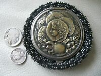 Antique Art Nouveau Roman Coin Black Crochet Steel Bead Tam O Shanter Purse 1890