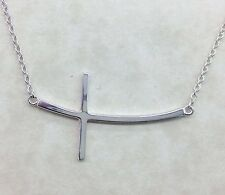 "925 Sterling Silver Curved Sideways Cross Pendant Necklace 16"" - 18"""