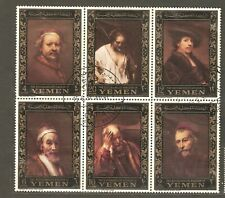 Yemen-kingdom: 6 used stamps in a block, Rembrant paintings, 1967, Mi#278-283.