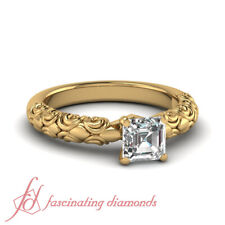 1/2 Ct Asscher Cut Diamond Solitaire Filigree Engagement Ring In Yellow Gold GIA