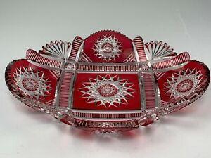 Beautiful Bohemian Cranberry Cut to Clear Art Glass Oblong Bowl