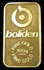 100 GRAMS SWEDEN BOLIDEN REFINERS GOLD 3.215ozs 999.9 FINE INGOT /BAR