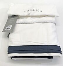 Restoration Hardware Edged Border Bed Skirt Cotton Full Black NEW $89