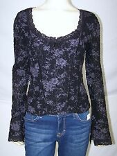 INC Black Gray Lace V-Neck Floral Stretch Long Sleeve Top Womens Size Small 4 6