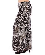 Womens Size 1X Palazzo Wide Leg Pants High Fold Over Waist Yummy Plus BLACK GRAY