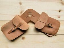 New Western Saddle Horse Tack- NATURAL Roughout Leather Horn Bags TRAIL RIDING