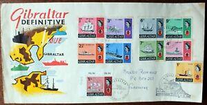 Gibraltar – 1967 Ship Definitives Set to 1/-  – on FDC (CB1)