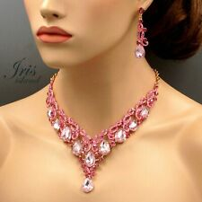 18K Gold Plated Pink Crystal Wedding Necklace Earrings Jewelry Set 08501 Prom