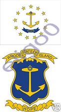 RHODE ISLAND Flag + Coat of Arms 2x stickers decals USA