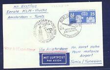 45527) KLM FF Amsterdam - Tunis 16.4.59, hellblaue Karte ab DDR