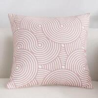Spiral Pink White Square Scandinavian embroidery Indoor cushion cover 18'