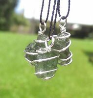 MOLDAVITE NECKLACE Wire Wrap In 925 Synergy 12 Raw Rough Crystal Tektite Pendant