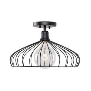 Kenroy Home Cagney 1-Light Black Semi-Flush Mount urban contemporary  industrial