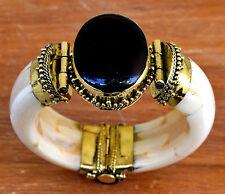 Black Onyx Stone Bracelet Hinge Tribal Bone Bangle Ethnic Boho Jewelry Africa
