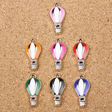 7Pcs Enamel Hot-air Balloon Mixed Color Ballon Pendant Charms Jewelry Making New