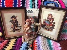 Hilde framed postcards 1950's Germany German children Boy Girl Siblings statue