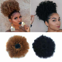 Natural Afro Hair Bun Synthetic Kinky Curly Ponytail Puff Drawstring Extensions&