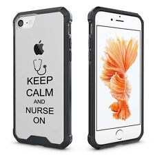 For iPhone X 6 6s 7 8 Plus Clear Shockproof Bumper Case Cover Keep Calm Nurse On