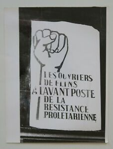 Photo ancienne 18x24 affiche OUVRIERS FLINS Paris mai 68 poster may 1968 7