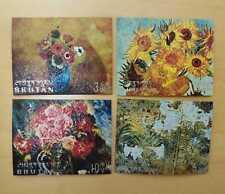 Bhutan - 1970 - Sc 114 Flower Paintings Embossed - 4 v - MNH