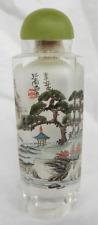 Interior pintado tabaco botella de cristal de roca, Jade Top, firmado y sellado/c1920s