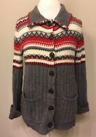 Eddie Bauer MEDIUM Cardigan Sweater Fair Isle Collar Gray Red White Ribbed R24