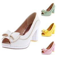 Ladies Womens high heels sandals bow Pumps Block Heel Platform Peep Toe Shoes
