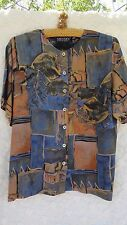 Karen Kane Blouse Boho Misses 12 Rayon Blue Brown Black Arty Print MINT
