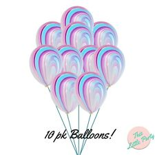 10 x Unicorn Marble Pastel Balloons 28cm Swirl Princess Birthday Party Supplies