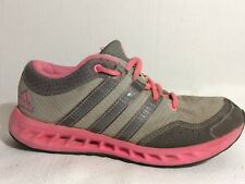 Adidas Kids Girls size 2 Youth Tennis Shoes Gray Pink Athletic Running Sneakers