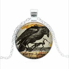 Raven Goth Tibet silver Glass dome Necklace chain Pendant Wholesale