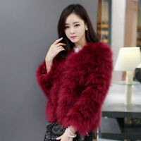 Hot! Women's Winter Real Ostrich Fur Outwear Overcoat Short Jacket Fashion coat