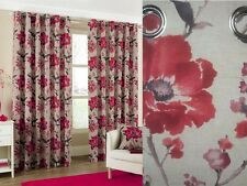 """Tokyo Modern Floral Heavy Cotton Eyelet Ring Top Lined Curtains Poppy Red 66 X 54 """""""