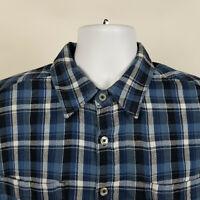 Carbon2Cobalt Blue Plaid Flannel Mens Casual Button Shirt Size Medium M